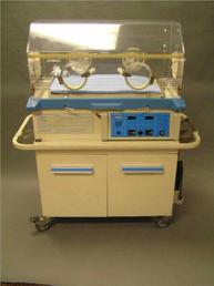 Older incubator with blue trim
