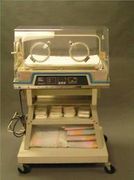 Modern incubator with blue trim