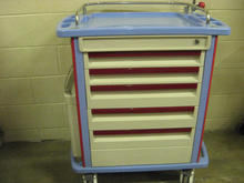 Blue and red drug cart