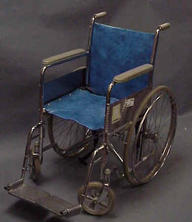 Older leather blue wheelchair