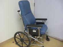 Blue leather wheelchair