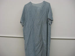 Blue dotted patient gown