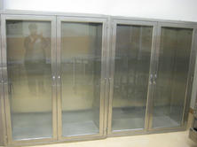 Stainless steel built-in cabinets with glass doors