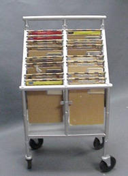 Stainless steel cart with clipboards