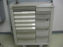 Older grey drug cart