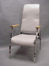 Grey leather high back chair