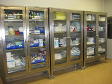 Stainless steel cabinets with glass