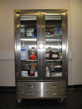Large stainless steel cabinet with glass front doors