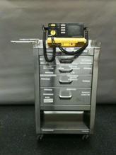 Stainless steel crash cart with defibrillator