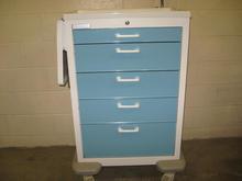 Modern blue and white drug cart