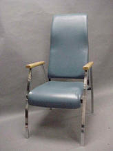 Blue leather high back chair