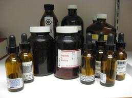 Box of brown lab bottles