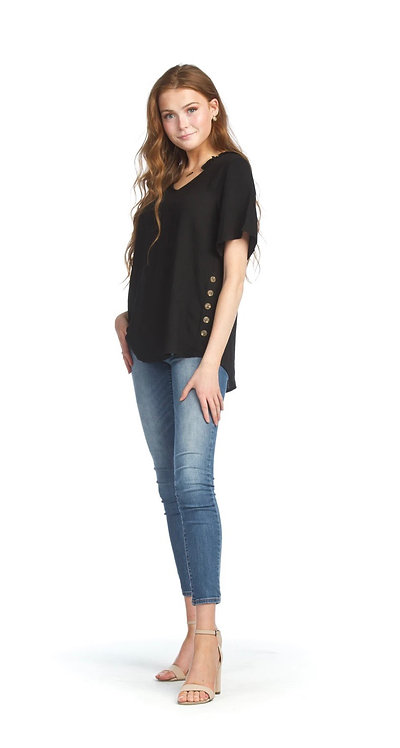 Black Blouse with Side Button Detail