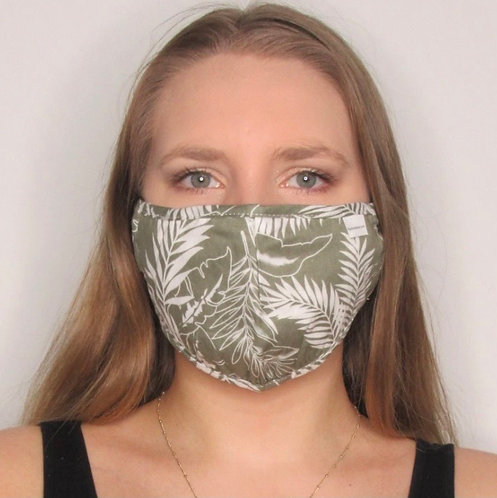 Khaki Leaf Print Mask