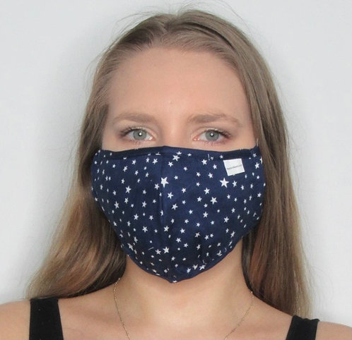 Navy Star Print Mask