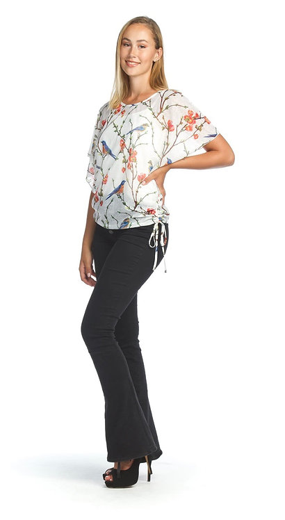 Garden Printed Top with Side Ties