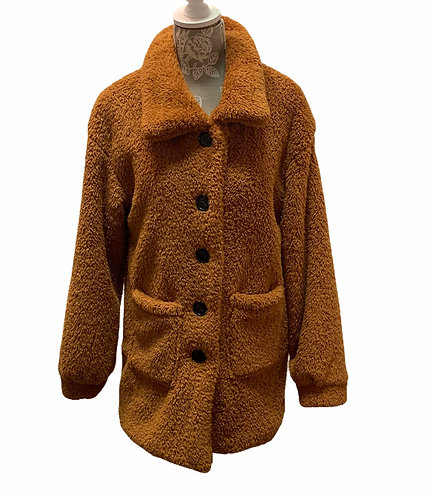 Long Fuzzy Jacket - Rust Colored