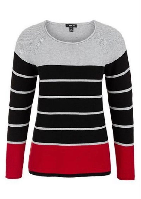 Grey Black and Red Stripe Sweater