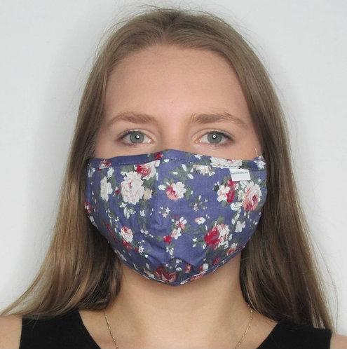 Blue Foral Mask