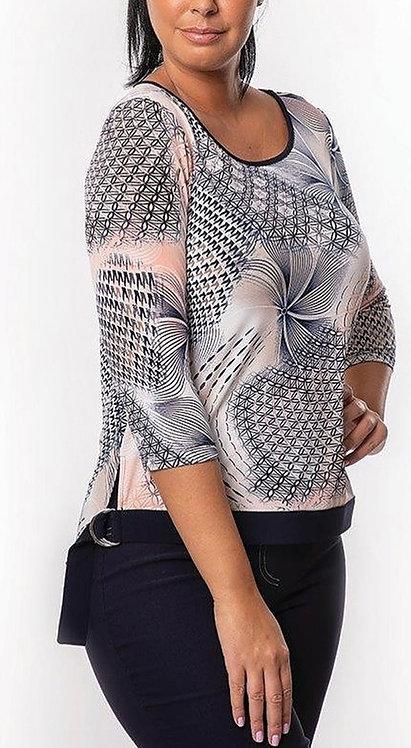 Pink Multi Print 3/4 Sleeve Top
