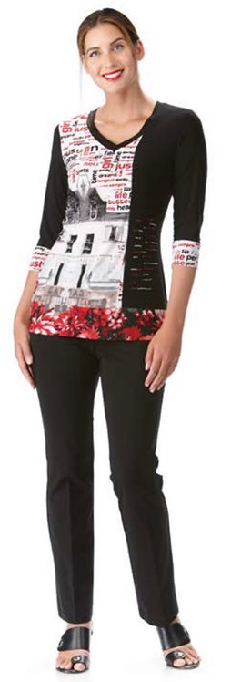 Graphic Top with Embellishments 3/4 Sleeve