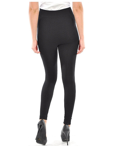 Sofra Ladies Cable Knit Leggings