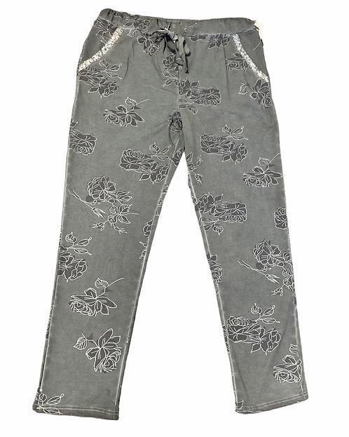 Teal Grey Flower Print Casual Pants