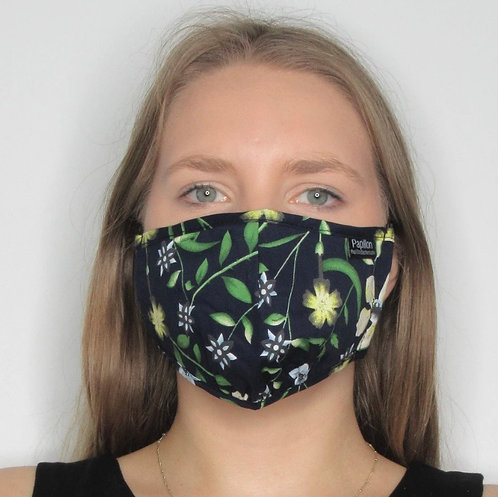 Navy with Yellow Floral Mask