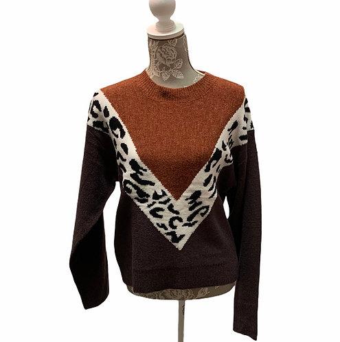 Multi Brown Animal Print Sweater