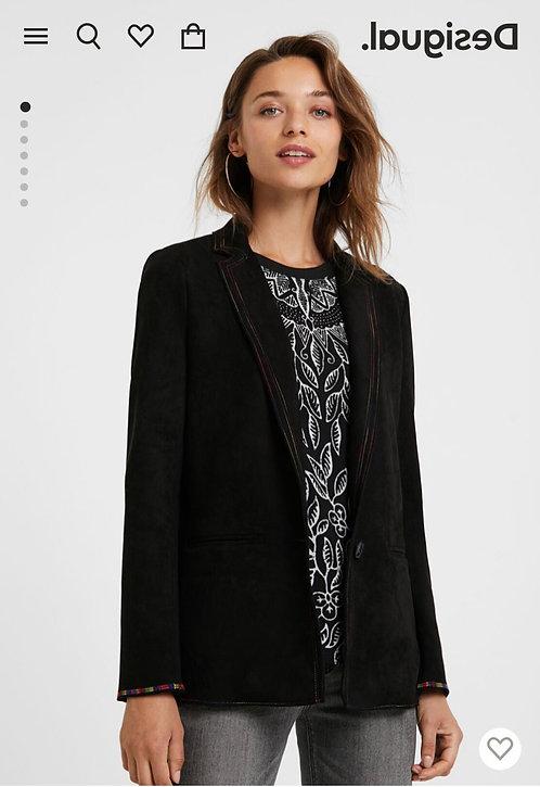 Slim Black Blazer With Colored Seams