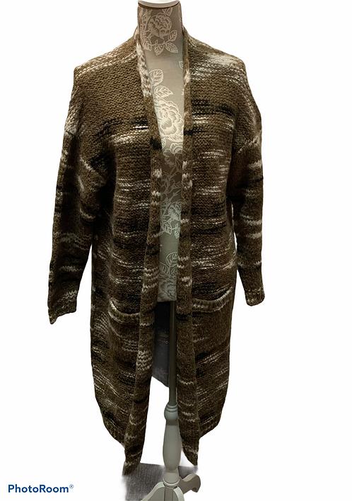 Brown Multi Colored Long Cardigan