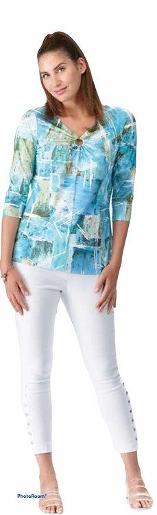 Turquoise Multi Print 3/4 Sleeve Top