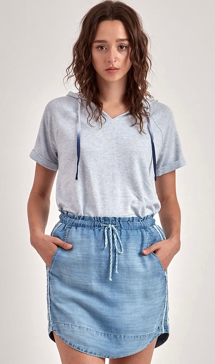 Blue Denim Skirt with Racing Stripes
