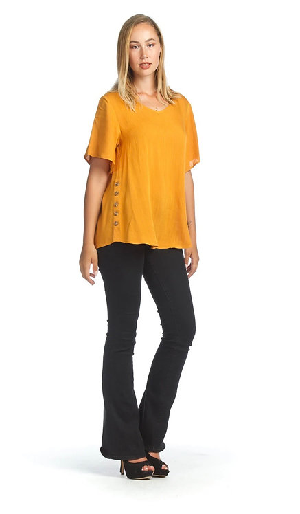 Mustard Colour Blouse With Side Button Detail