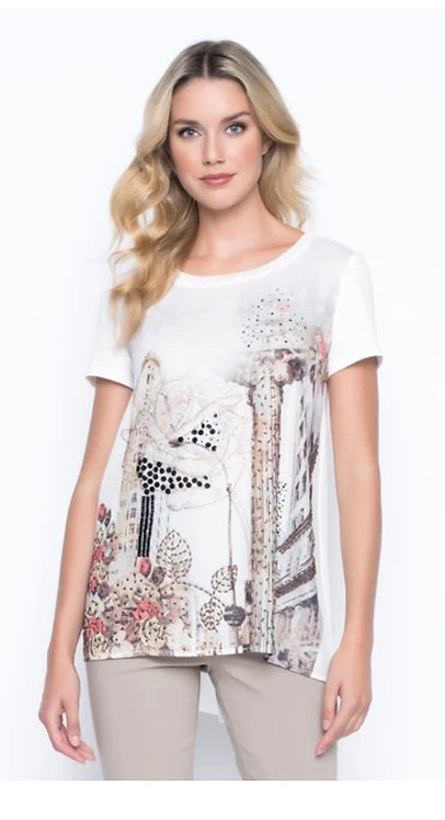 Embellished Print Top - Taupe