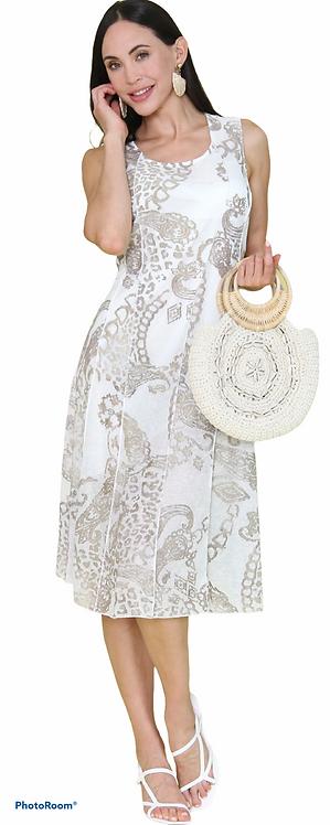 Sand Paisley Print Dress