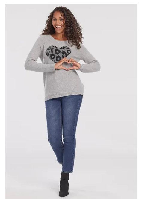 Grey Animal Print Heart Sweater