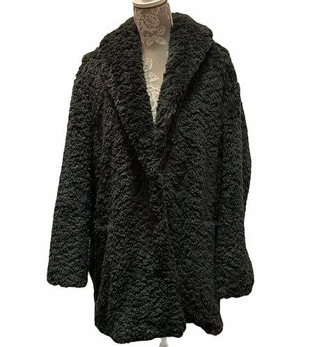 Dark Green Long Fuzzy Jacket