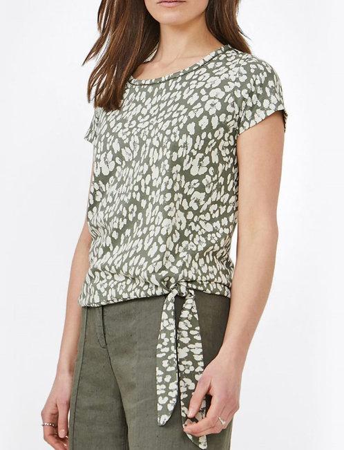 Khaki Print Top with Tie Detail