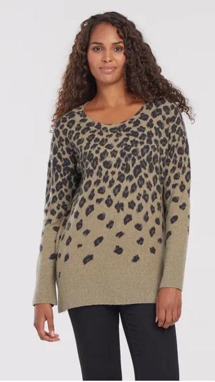 Mosstone animal print sweater