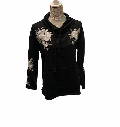 Black With Flower Draw String Sweater