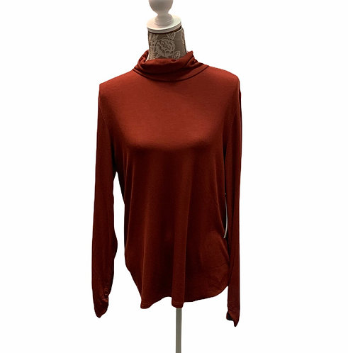 Rust Colored Ribbed Turtle Neck