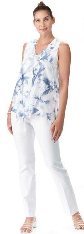Blue/White Flower Print Top