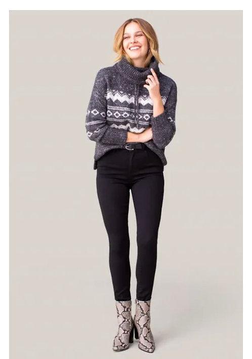 Jacquard Cowl Neck Sweater