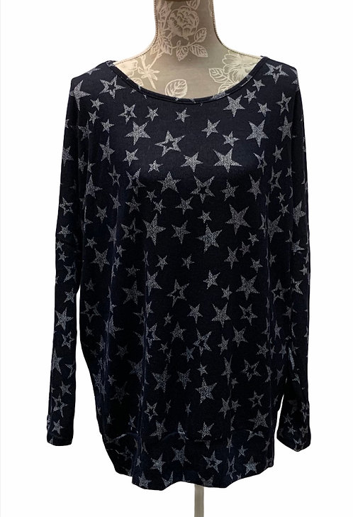 Navy Star Top