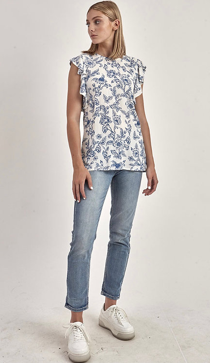 White/Navy Floral Print Top