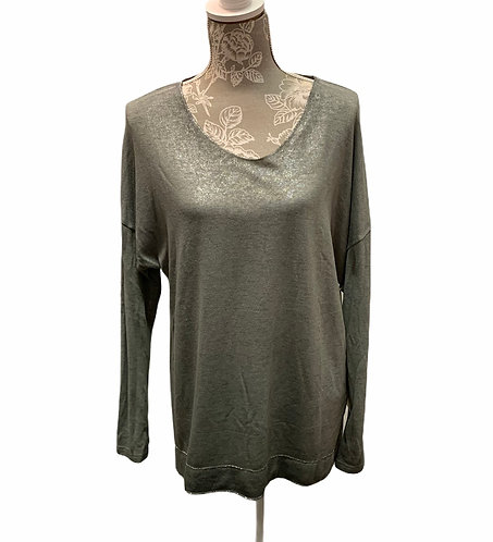 Sage Long Sleeve Top with Silver Accents on Hem