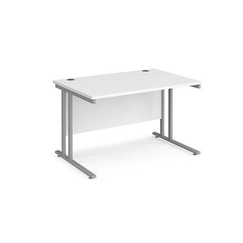 Home Workstation desk  - silver cantilever leg frame, white top