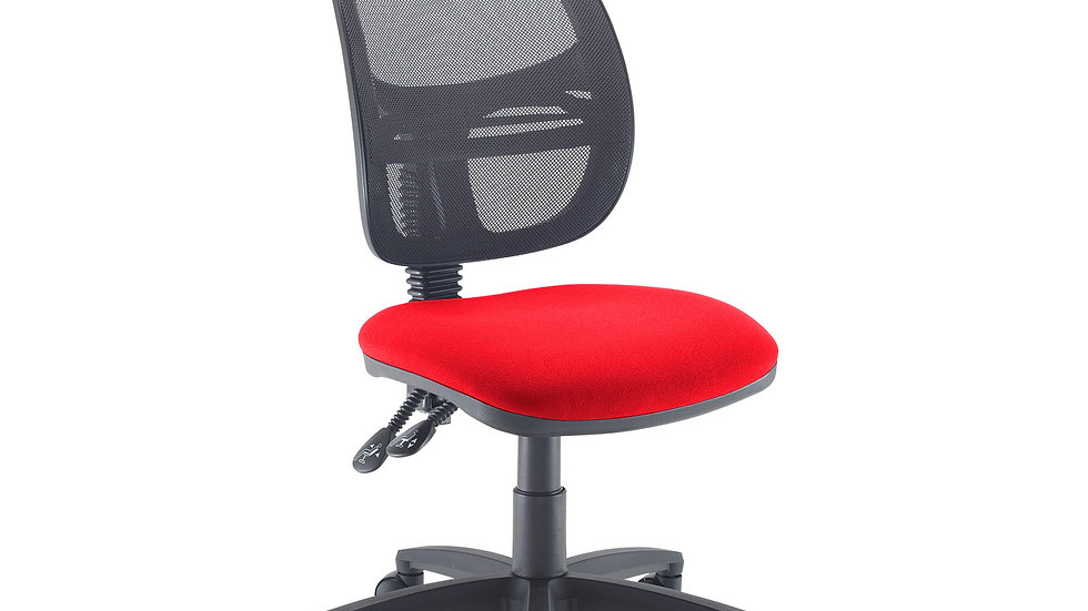 Mesh medium back operators chair with no arms- Red Seat