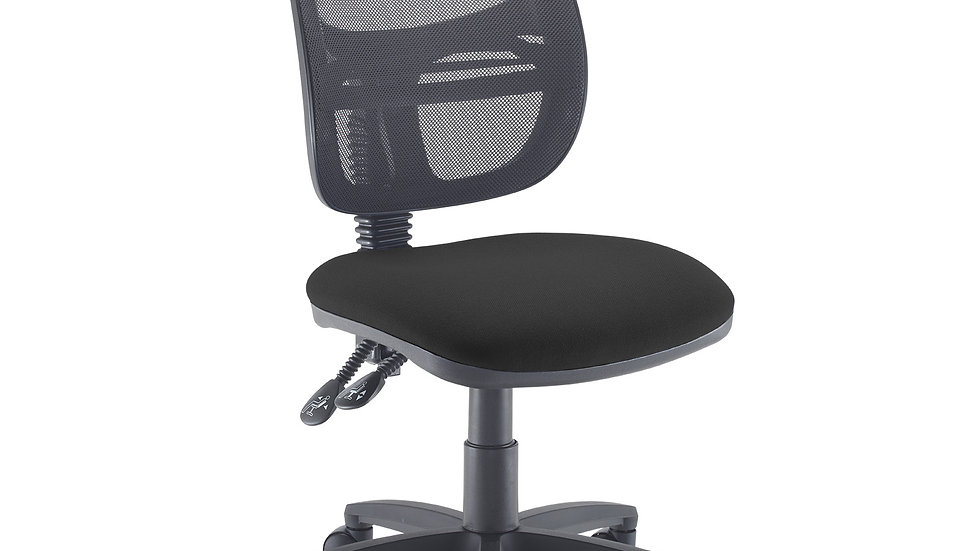 Mesh medium back operators chair with no arms- Black Seat